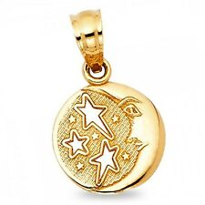 Solid 14k Yellow Gold Sun Moon Stars Pendant Fancy Charm Diamond Cut Small
