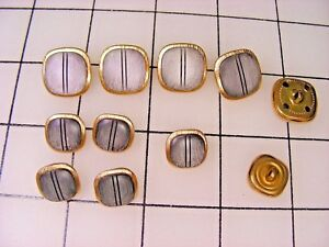 BUTTONS - LOT of 11 Designer style - 2 sizes - Pearlized Gray in Gold tone Metal