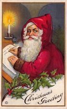 Christmas Postcard Santa Claus Writing Names on a Naughty and Nice List~114053