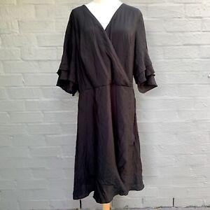 CITY CHIC Black Faux Wrap Dress Sundress - Plus Size XL Size 22 Flutter Sleeve