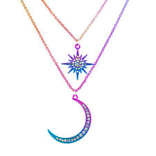 Lux Accessories Rainbow Oil Slick Celestial Moon Star Layered Pendant Necklace