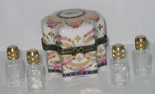 Porzellan Dose Deckeldose mit 4 Parfüm Flakon aus Glas im Antik Sil rosa 6x5cm