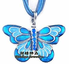 Handmade Butterfly Pendant Necklace Long Sweater Chain Rhinestone Lady Jewelry