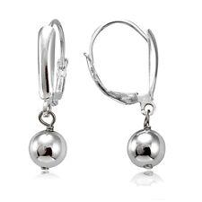 Bead Leverback Earrings Sterling Silver Dangling 6mm