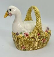 """Schmid """"Younger than Spring Time"""" Duck on a Basket Easter Music Box 1983"""