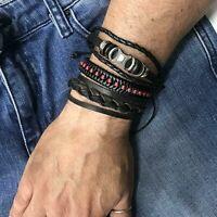 Bracciale da uomo in pelle cuoio set 3 braccialetti punk treccia metallo polsino