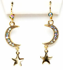 KIRKS FOLLY ASTRAL MOONDANCE CRESCENT MOON LEVERBACK EARRINGS SWAROVSKI CRYSTAL