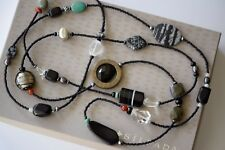Silpada Long Black Bead Pearl Turquoise Agate Boho Sterling Necklace N1967