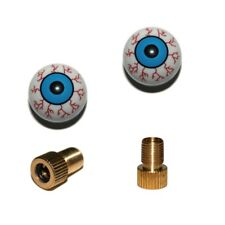 2er Set Ventilkappen und 2 Fahrrad Adapter - Auge mit Adern - in blau für jedes