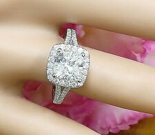 Moissanite and Diamond Engagement Ring 2.40ct 14k White Gold Cushion Forever One