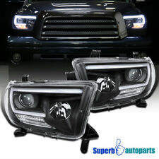 For 2007-2013 Toyota Tundra Sequoia LED DRL Tube Black Projector Headlights
