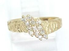 14k Yellow Gold Round Diamond Cluster Right Hand Ring .39ct