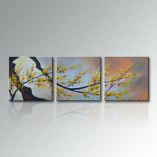 Framed Hand-painted Canvas Wall Art Abstract Plum Blossom Flower Oil Painting