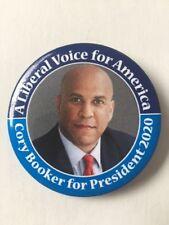 "2020 Senator Cory Booker for President 2.25"" Button ""A Liberal Voice"" Pin"