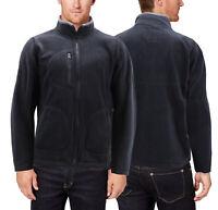 Men's Polar Fleece Full Zip-Up Collared Sweater Lightweight Warm Sweater Jacket