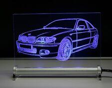 Gravur mit BMW e46 coupe auf LED Leuchtschild 3er Geschenk Tombola Präsent