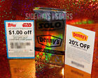 DENNYS SOLO: A STAR WARS STORY WRAPPER & COUPON CARDS 20% off, $1 off Target