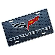 Chevrolet CORVETTE License Plate Metal Embossed Stamped Tag Chevy racing flags