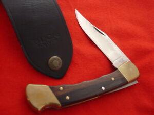 "Buck USA FOLDING HUNTER 110 5"" Finger Groove 1987 Lockback Sheath Knife MINT"