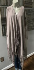ThePerfext Clinton Fringed Cardigan Latte Size Small $895