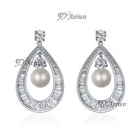 18K WHITE GOLD GF 925 SILVER CRYSTAL WEDDING PARTY STUD PEARL EARRINGS LUXURY