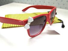 WOMANS RED RETRO RECTANGULAR SUNGLASSES + FREE CASE/POUCH