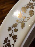 Vintage 1960-3 Pyrex Golden Acorn 1.5QT Divided Dish Bowl Gold on Ivory, Nice!