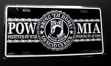 POW MIA Bring em Home or Send us Back Embossed Metal License Plate 6 x 12 inches