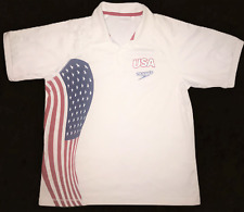 Men's SPEEDO White Red White & Blue USA Graphic Olympic Polo Shirt Large Rare