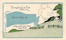"""""""Everything is Fine"""" here in Storm Lake Iowa~House on Hill~1914 Pennant Postcard"""