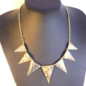 statement collar Necklace gold tone triangle festoon abalone  costume Jewellery