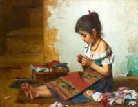 Oil painting Little girl portrait Mending her favorite doll canvas
