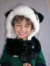 Adult Black & White Furry Panda Bear Hug Hat winter animal hood hoodie hat