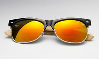 Black Frame Bamboo Sunglasses Fire Sunset Orange Mirror Lens Wooden Retro Style