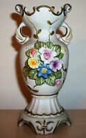 "vintage 5-1/2"" Bisque Porcelain Bud Vase with Colorful Bouquet Relief"