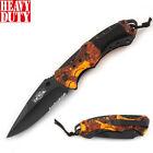 8.5' Overall Spring Tactical Folding Pocket Knife Stainless Steel Blade Leaf Art