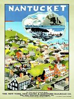 ART PRINT POSTER TRAVEL TOURISM NANTUCKET NEW ENGLAND RAILWAY TRAIN USA NOFL1248