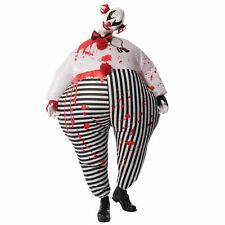 Mens Creepy Evil Inflatable Clown Circus Hell Halloween Fancy Dress Costume