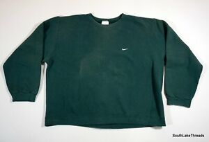 VTG Nike Swoosh Crew Neck Sweatshirt Green Travis Scott XXL 2XL Distressed