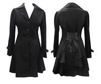 Victorian Riding Corset Jacket Black Women Gothic Steampunk Coat