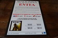 MADONNA - Plan média / Press kit !!! EVITA - CAMPAGNE TV !!!