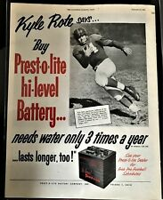 Kyle Rote New York Football Giants Great 1952 Presto Lite Battery Ad