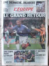 L'Equipe du 13/10/2002 - Jalabert - France-Slovenie - PH Mathieu - Volley fr. -
