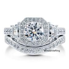 2Carat Round Moissanite Art Deco Engagement Bridal Ring Set 925 Sterling Silver