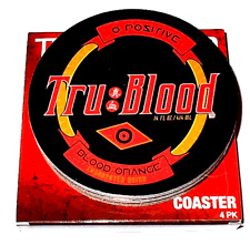 NEW HBO Tru Blood O Positive Blood Orange Cork Backed Coasters 4 Pack True