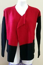 Chico's Red Black 100% Wool Open Front Long Sleeve Sweater Cardigan Size 0