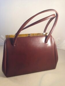 BROWN RETRO 1940s 1950s BOX FRAME BAGS CLASSIC HANDBAG PROM PARTY HARDBACK