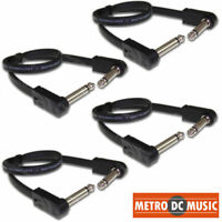 "4-Pack Hosa 12 inch Flat Patch Pedal Cable 1/4"" Nickel Right-Angle Low Profile"