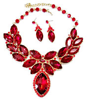 Statement Necklace Earring Crystal Rhinestone Bridal Pageant Prom Jewelry Red