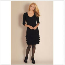 NEW Soft Surroundings Theodora Black Sweater Dress Fringe M #619